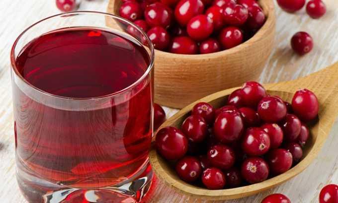 Сок клюквы повышает уровень кислотности в мочевом пузыре, уменьшает воспалительный процесс, свежеприготовленный сок пьют по 20 мл ежедневно 3 раза
