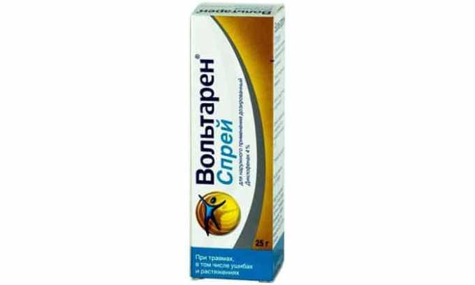 Спрей Вольтарен для наружного применения, жидкость желтоватая, прозрачная, имеет мятный аромат, в 1 дозе спрея 8 мг действующего вещества