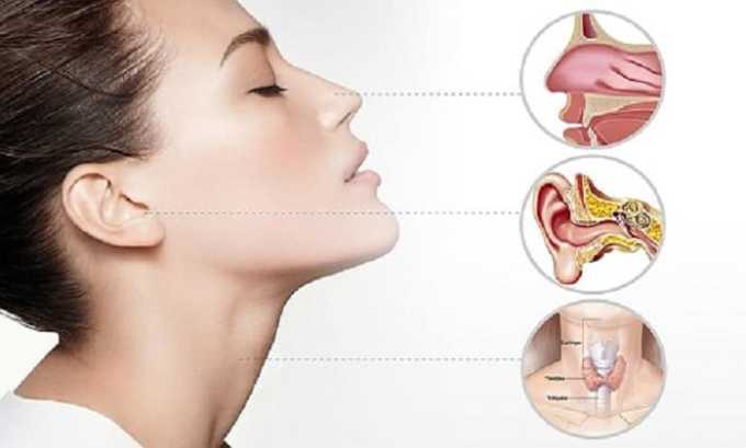 Препарат назначают при заболеваниях ЛОР-органов и дыхательных путей