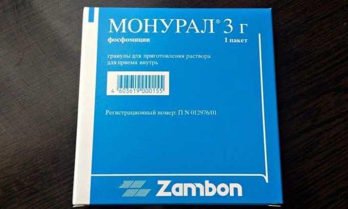 Лечение цистита включает препарат широкого действия Монурал