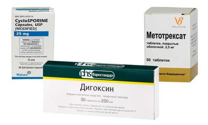Метотрексат, Циклоспорин и Дигоксин, при совместном применении повышается риск развития сердечно-сосудистых заболеваний