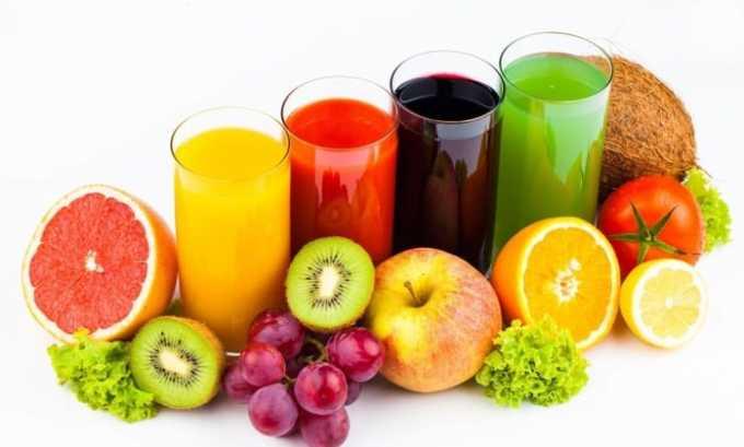 Пациенту полезно пить неконцентрированные соки из овощей и фруктов