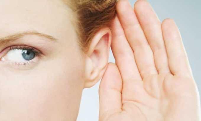 От длительного приема наблюдается изменение остроты слуха