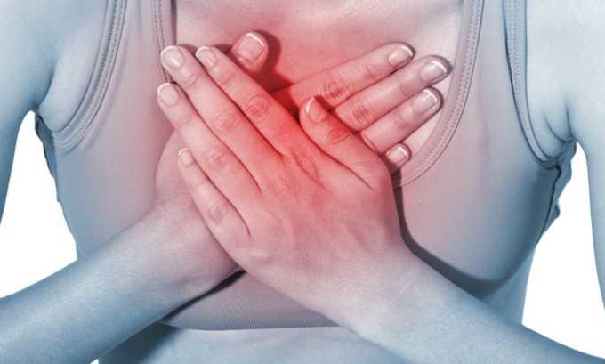 При использовании средства побочным эффектом может быть загрудинная боль