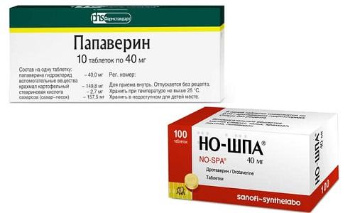 Для уменьшения неприятных ощущений в домашних условиях принимают таблетки спазмолитических препаратов типа Но-шы или Папаверина