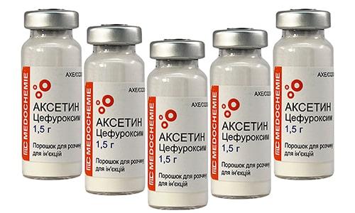 Лекарство Аксетин выпускается в форме порошка для приготовления раствора