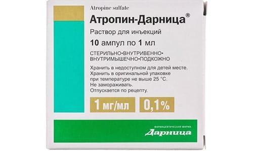 Блокада при передозировке купируется введением атропина